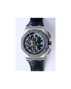Royal Oak Offshore 44mm 26411PO Updated Black Ceramic Bezel Black/Blue Dial Leather JF A3126 (Free Rubber Strap)