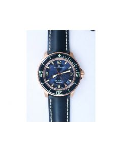 Fifty Fathoms RG Bright Blue Dial Blue Leather Strap A1315 ZF
