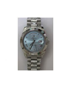 Rolex Pres Smooth Ice-Blue Roman SS/SS