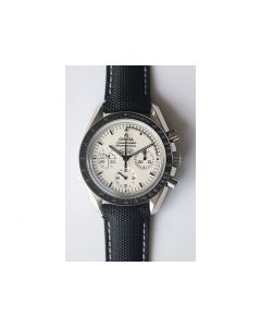 Omega Speedmaster Moonwatch Chrono Snoopy White Dial Leather JHF