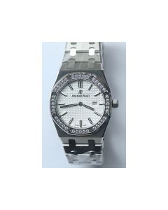 Royal Oak 33mm 67651 Diamond Bezel White Dial Bracelet Quartz JF
