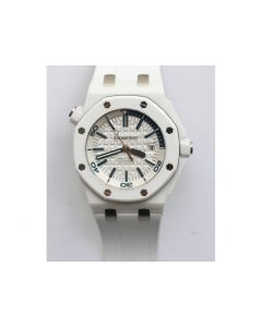 Royal Oak Offshore Diver Solid White Ceramic 1:1 Best Edition Rubber Strap A3120 V2 JF