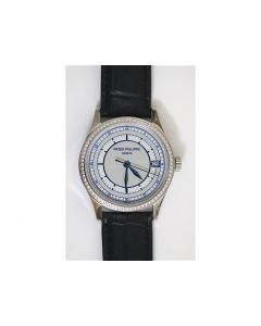Calatrava 5296 Diamond Bezel Blue Dial Leather 324SC