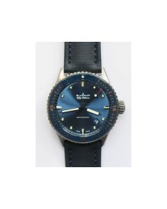 Fifty Fathoms Bathyscaphe Ceramic  1:1 Best Edition Blue Dial Blue Sail-Canvas Strap A1315 ZF