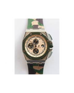 Royal Oak Offshore 2018 SIHH 閳ユゥombat閳?44mm 1:1 Best Edition Green Ceramic Bezel Camo Rubber Strap A3126 w/ Cyclops JF
