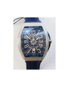 Vanguard V45 SS Full Diamonds Best Edition Blue Textured Dial Diamonds Markers Blue Gummy Strap A2824  ABF