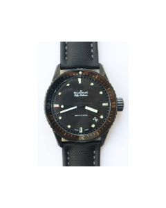 Fifty Fathoms Bathyscaphe DLC ZF 11 Best Edition Black Dial on Black Sail-Canvas Strap A1315