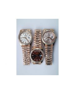 Rolex Day-Date 40mm RG Crystal Bezel White&Brown&Pink Dial Bracelet BP A2836
