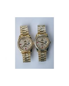 Rolex Day-Date 40mm YG Crystal&Diamond Bezel Crystal Marker Diamond Dial Bracelet BP A2836