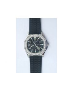 Aquanaut 5067A Diamond Bezel Black Textured Dial Black Rubber Strap AE23 JJF