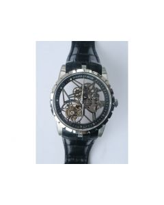Excalibur Rddbex0393 Tourbillon Skeleton Dial Black Leather Strap A2136 JBF