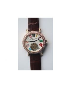 Color Dreams Tourbillon RG Diamond Bezel Brown Croco Leather